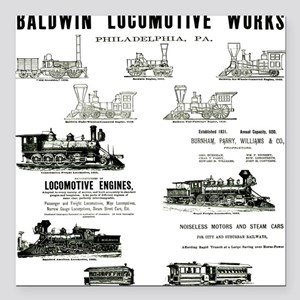The Baldwin Locomotive Works Square Car Magnet