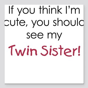 Cute Twin Sister - Square Car Magnet
