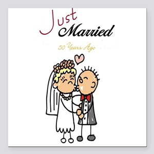 Just Married 50 years ago Square Car Magnet