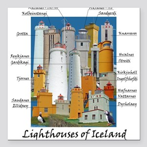 Lighthouses of Iceland Square Car Magnet