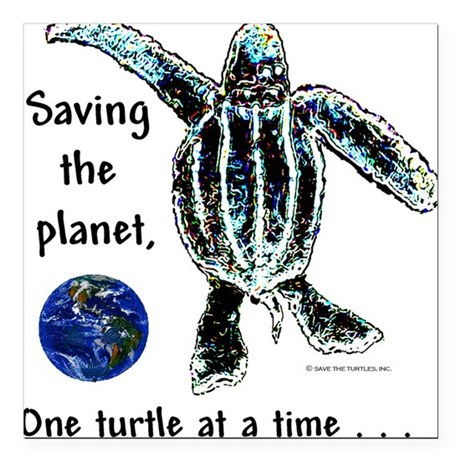 Earth & Sea Turtle Day Square Car Magnet
