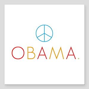 OBAMA PEACE color Square Car Magnet