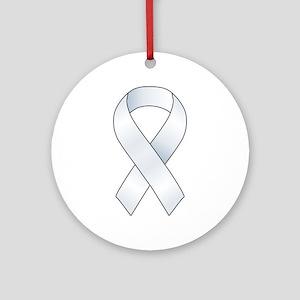 White Ribbon Ornament (Round)