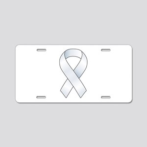White Ribbon Aluminum License Plate