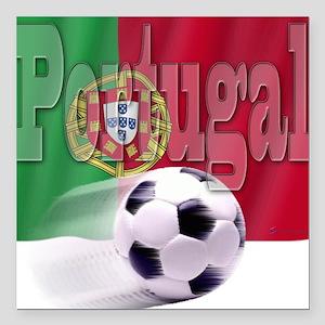 Soccer Flag Portugal Square Car Magnet