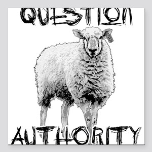 Question Authority Square Car Magnet