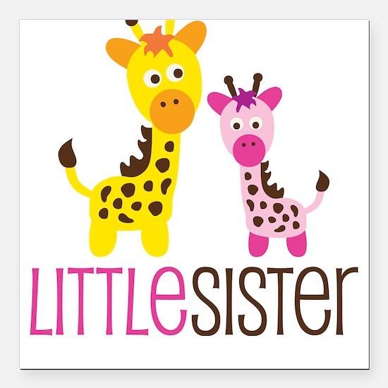 Giraffe Little Sister Square Car Magnet