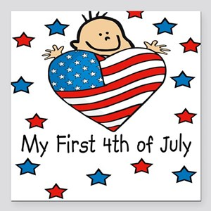 1st 4th of July Baby/Toddlers Square Car Magnet