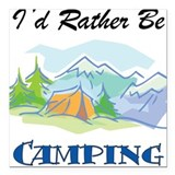 Id rather be hiking Square Car Magnets