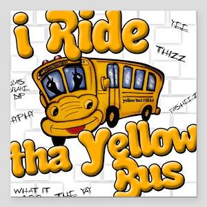 Yellow bus ridah Square Car Magnet