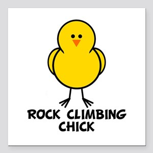 Rock Climbing Chick Square Car Magnet