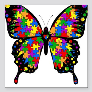 Autism Butterfly Square Car Magnet