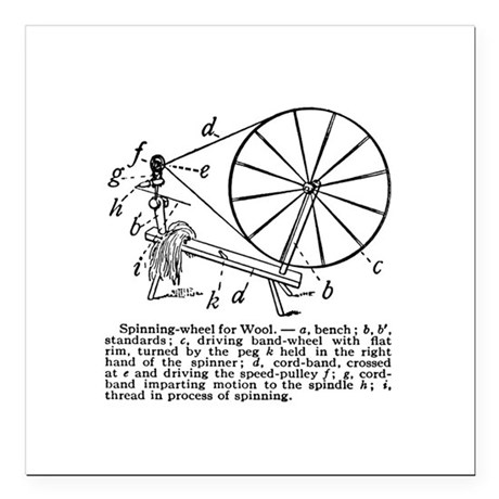 Yarn - Vintage Spinning Wheel Square Car Magnet