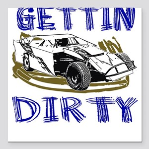 Gettin Dirty - Dirt Modified Square Car Magnet