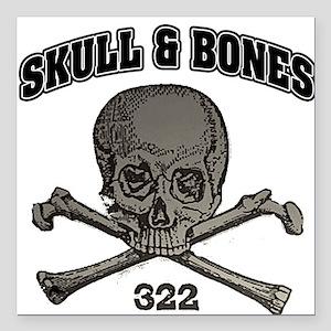 Skull Bones Square Car Magnet