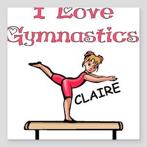 I Love Gymnastics (Claire) Square Car Magnet