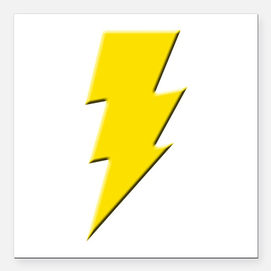 Yellow Lightning Square Car Magnet
