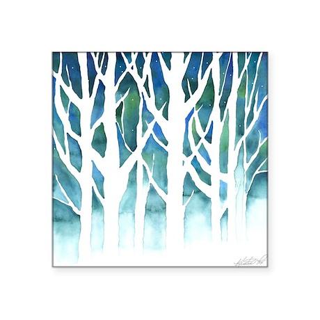 """Winter Silhouette Square Sticker 3"""" x 3"""""""