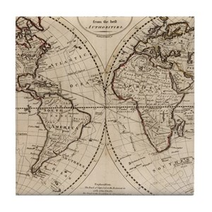 Old World Map Coasters CafePress - Old time world map