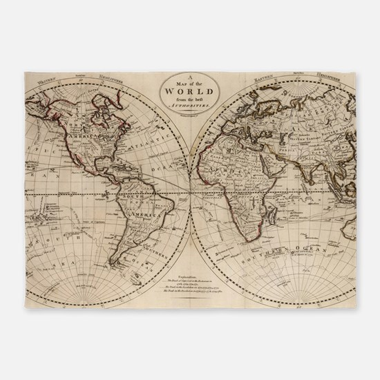 Old Fashioned World Map (1795) 5'x7'Area Rug