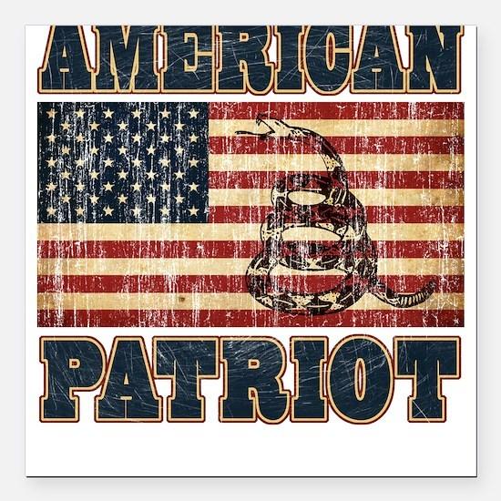 American Patriot Square Car Magnet