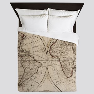 Old Fashioned World Map (1795) Queen Duvet