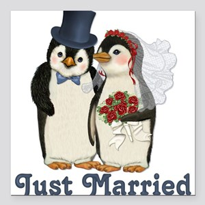 Penguin Wedding - Just Married Square Car Magnet