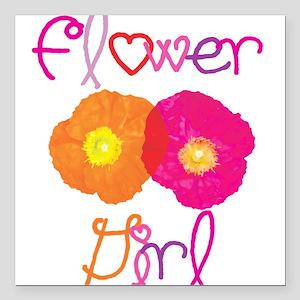 Flower Girl Square Car Magnet
