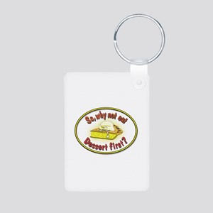Dessert First Aluminum Photo Keychain