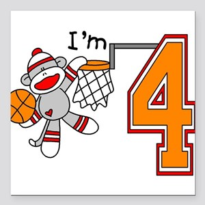 SockMonkey Hoops 4th Birthday Square Car Magnet