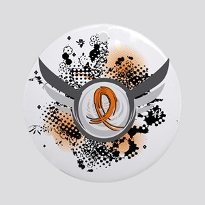 Wings and Ribbon Kidney Cancer Ornament (Round)
