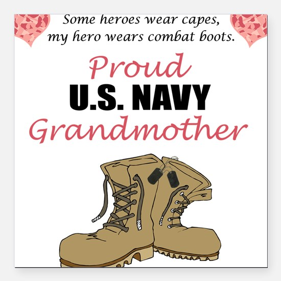 Proud US Navy Grandmother Square Car Magnet