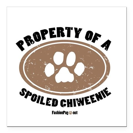 Chiweenie dog Square Car Magnet