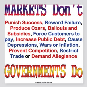 Markets and Governments Square Car Magnet
