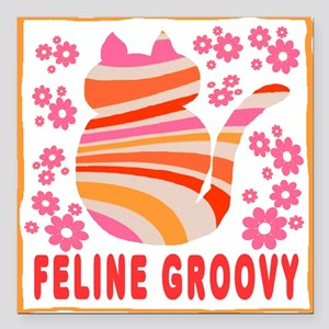 Feline Groovy (orange/pink) Square Car Magnet