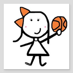 Girl & Basketball Square Car Magnet