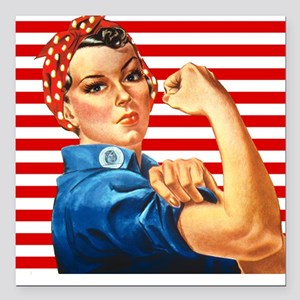 Rosie the Riveter Square Car Magnet