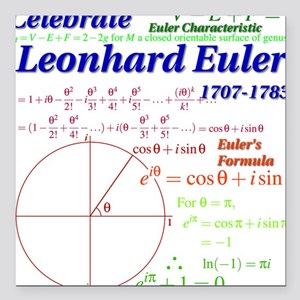 Celebrate Euler Light Color Square Car Magnet