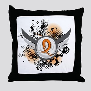 Wings and Ribbon Multiple Sclerosis Throw Pillow