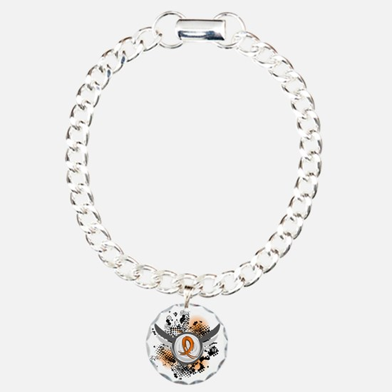 Wings and Ribbon Multiple Sclerosis Charm Bracelet