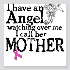 Breast Cancer Mother Angel Square Car Magnet