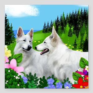 WHITE GERMAN SHEPHERD DOGS Square Car Magnet