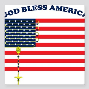 God Bless America Square Car Magnet