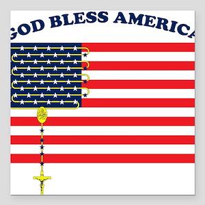 God Bless America Square Car Magnet