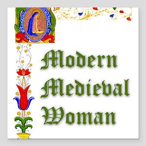 Modern Medieval Woman Square Car Magnet
