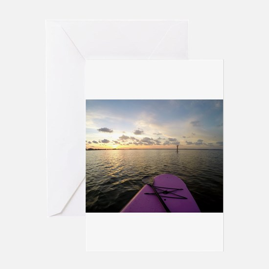 Paddle sunset Greeting Cards