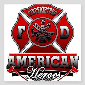 American Heroes Square Car Magnet