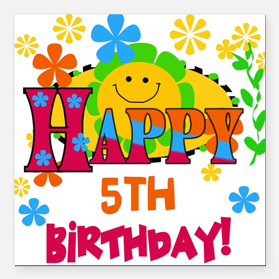 Joyful 5th Birthday Square Car Magnet