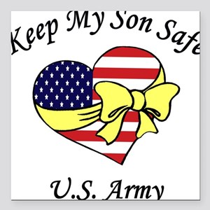 US Army Mom & Dad Keep My Son Safe Square Car Magn