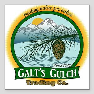 Galt's Gulch Green/Gold Square Car Magnet